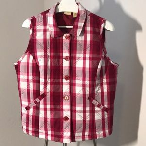 Jackets & Blazers - Quilted Plaid Lined Button Front Vest